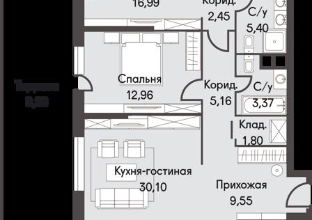 Продаётся 2-комнатная квартира, 111 м²