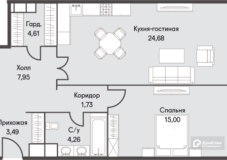 Продаётся 2-комнатная квартира, 61.72 м²