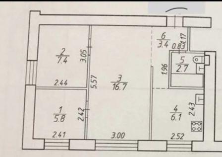 Продаётся 3-комнатная квартира, 43 м²