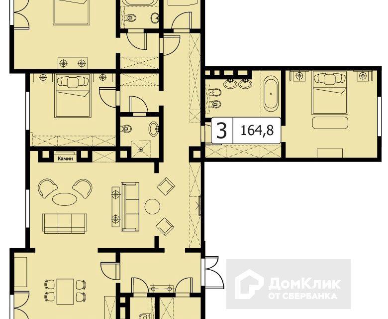 Продаётся 3-комнатная квартира, 164.8 м²