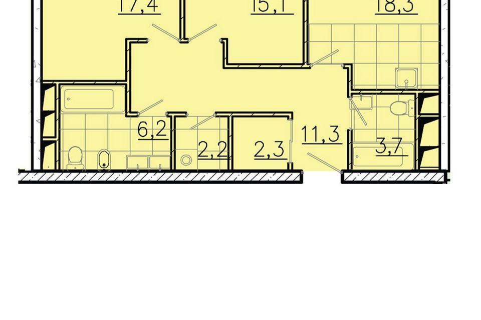 Продаётся 2-комнатная квартира, 76.5 м²