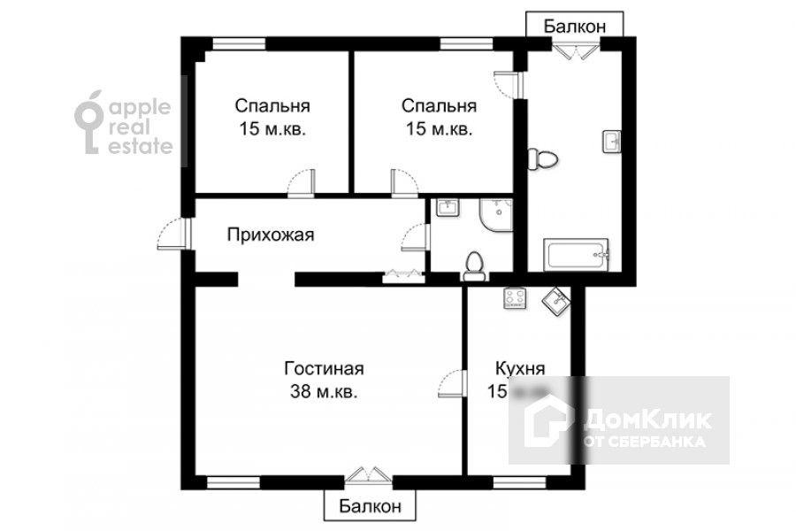 Продаётся 3-комнатная квартира, 108 м²